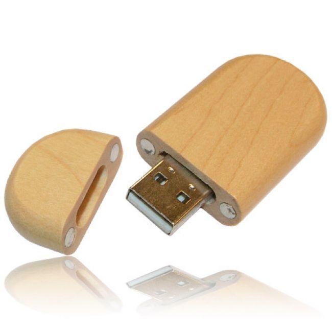 Ovāla koka USB zibatmiņa