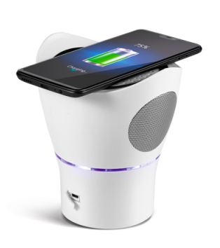 Speaker with microphone and wireless charger