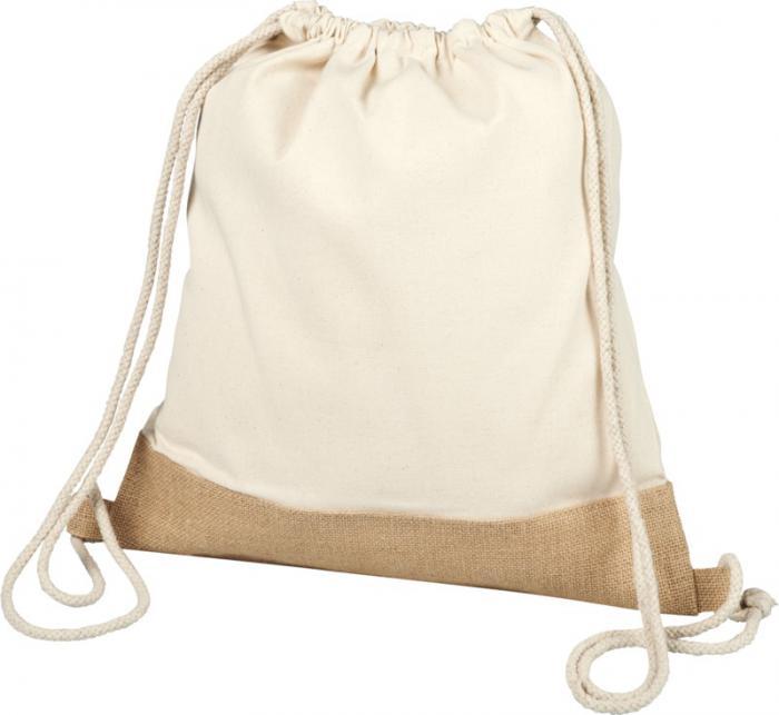 Delhi- cotton jute drawstring backpack with logo