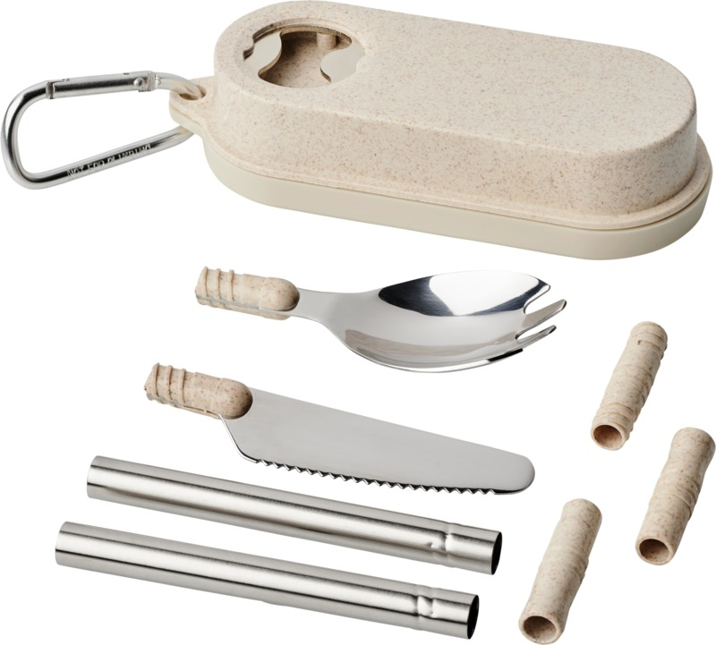 Portable cutlery set with logo