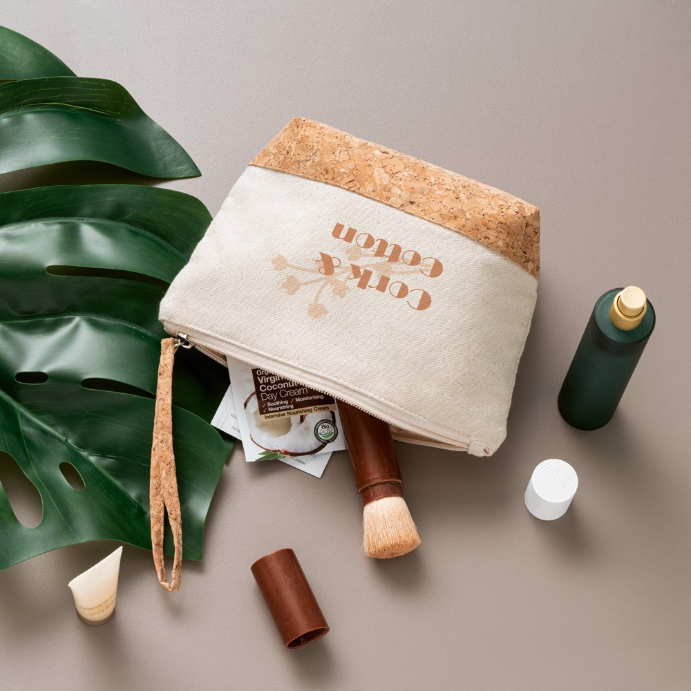 """Cotton cosmetic bag with cork details """"Zero waste""""  with logo"""