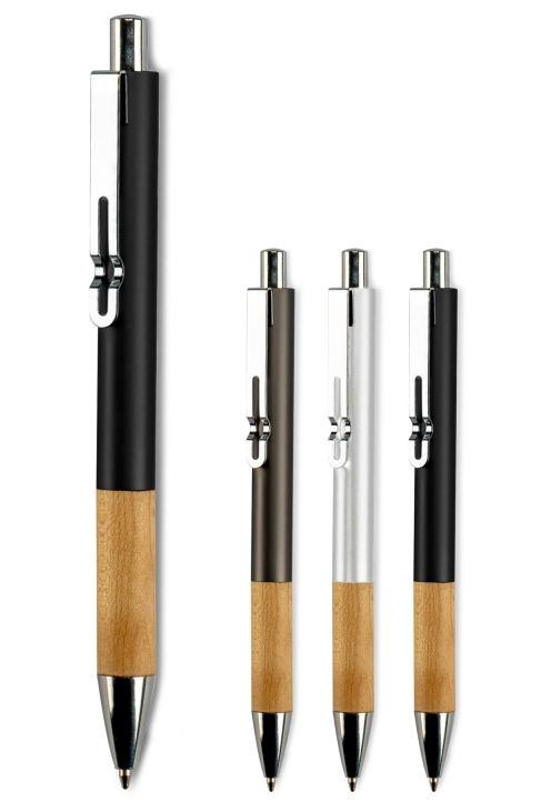 Metāla pildspalva ar skaistu koka detaļu un logo