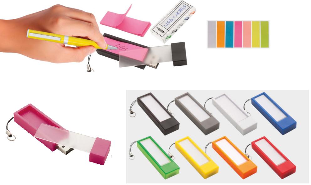 USB ar piezīmju lapiņām
