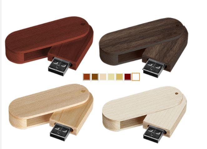 Koka USB dažādos toņos ar logo