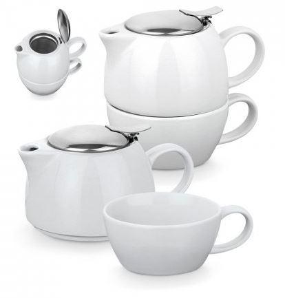 2 in 1 ceramic tea set with logo