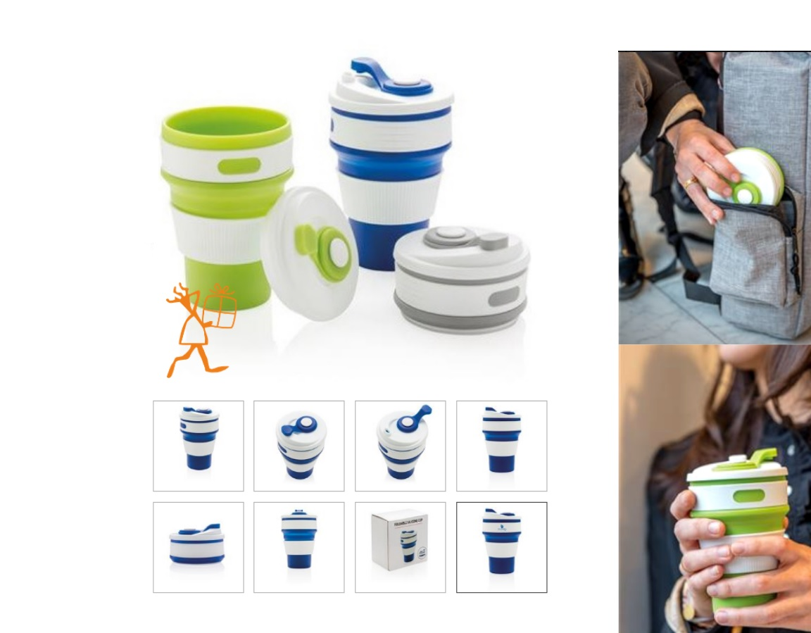 Folding silicone coffee mug
